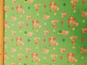 Dumbo and Timothy mouse Walt Disney - Fabric mint green - Price Per Metre